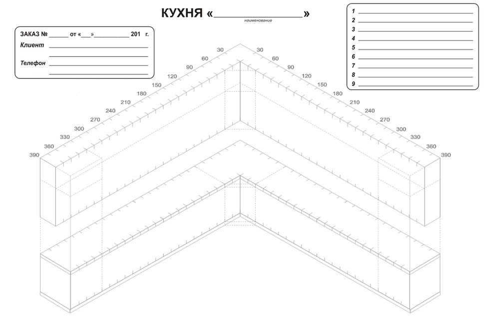 Бланк схема замеров кухни